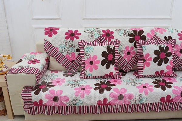 Cute Pink and Grey Flowers Print Slip Resistant Home Decoration Sofa Covers
