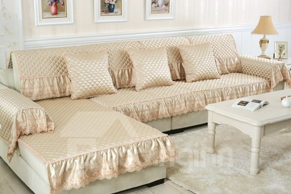 Decorative Beige Cushion Slip Resistant With Beautiful Peplum Quilting Sofa Covers