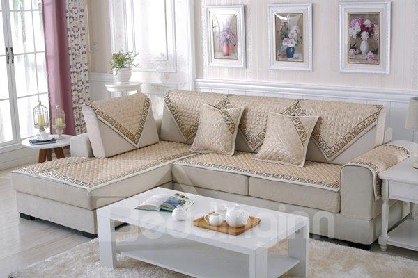Fashion Beige High Grade Quilting Flower Print Cushion Four Seasons Sofa Covers