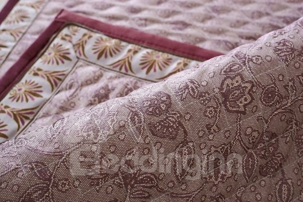 Wine Red Fashion High Grade Quilting Flower Print Cushion Four Seasons Sofa Covers