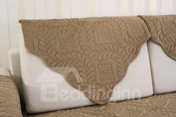 Camel Plush Quilting Phoenix-tail Print Four Seasons Slip Resistant Sofa Covers