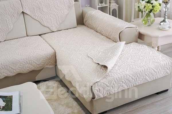 White Plush Quilting Phoenix-tail Print Four Seasons Slip Resistant Sofa Covers