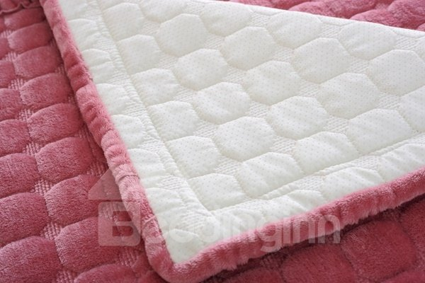 Lovely Pink Comfortable Thicken Flannel Four Seasons Square Block Design Slip Resistant Sofa Covers