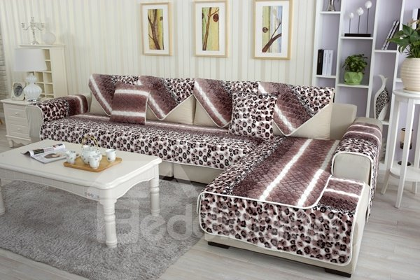 Unique Design Thicken Flannel Beautiful Leopard Print Design Cushion Slip Resistant Sofa Covers