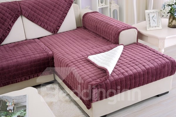 Red Comfortable Thicken Flannel Four Seasons Square Block Design Slip Resistant Sofa Covers