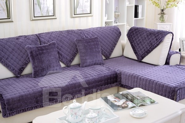 Purple Plaid Polyester 1-Piece Slip Resistant Sofa Cover