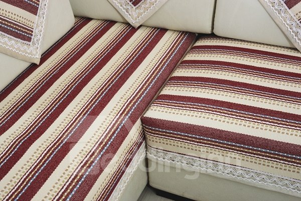Red and White Strips Print Polyester Fiber Washable Slip Resistant Sofa Covers