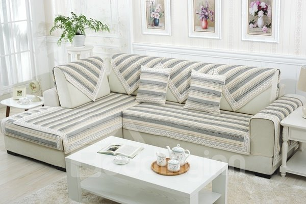 Simple Style Blue and White Strips Print Four Seasons Slip Resistant Sofa Covers