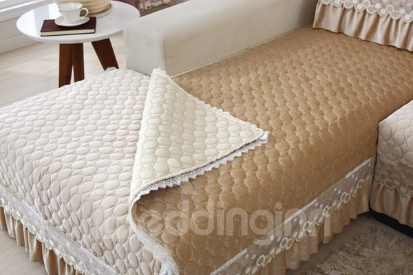 Beige Polyester Fiber European Style Lace Edge Four Seasons Slip Resistant Sofa Covers