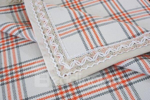 Simple Style Orange and White Plaid Print Four Seasons Slip Resistant Sofa Covers