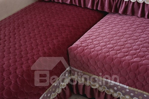 Gorgeous Amaranthine Three-dimensional Embroidery with Lace Edge Slip Resistant Sofa Covers