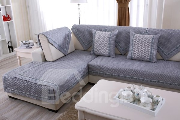 Grey Top Grade Slip Resistant Quilting Seam Washable Decorative Sofa Covers