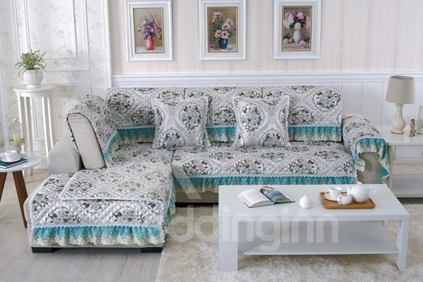 Blue Quilting Seam Brocade Design with Lace Edge Cushion Slip Resistant Sofa Covers