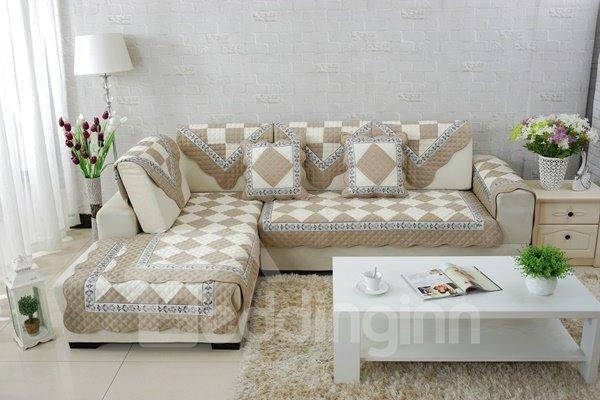 Unique Design Beige and White Plaid Print Cushion Slip Resistant Sofa Covers
