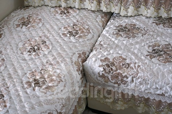 Elegant Quilting Seam Brocade Design with Lace Edge Cushion Slip Resistant Sofa Covers