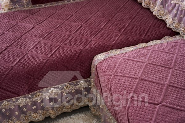 Wine Red Polyester Fiber European Style Lace Edge Four Seasons Slip Resistant Sofa Covers