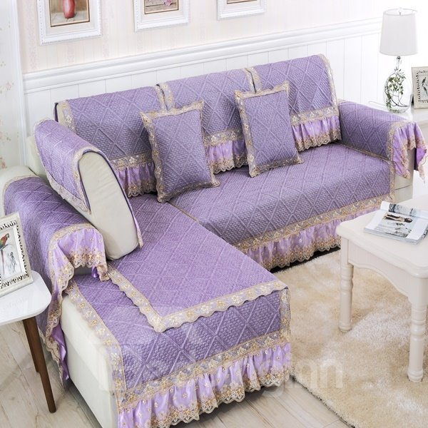 Purple Polyester Fiber European Style Lace Edge Four Seasons Slip Resistant Sofa Covers