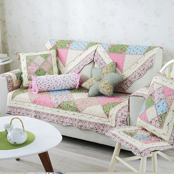 65 Modern Country Style Splicing Flower Pattern Quilting Seam Cushion Slip Resistant Sofa Covers