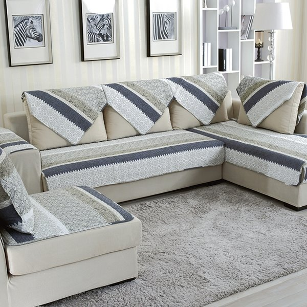 Modern Blue and White Strips Print Quilting Seam Cushion Slip Resistant Sofa Covers