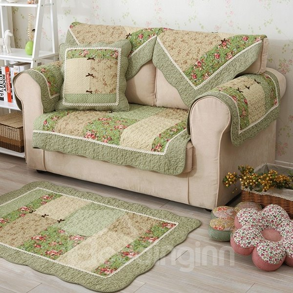 Winter Cotton Handmade Three-dimensional Embroidery Country Style Green Cushion Sofa Covers Winter Cotton Handmade Three-dimensional Embroidery Country Style Green Cushion Sofa Covers