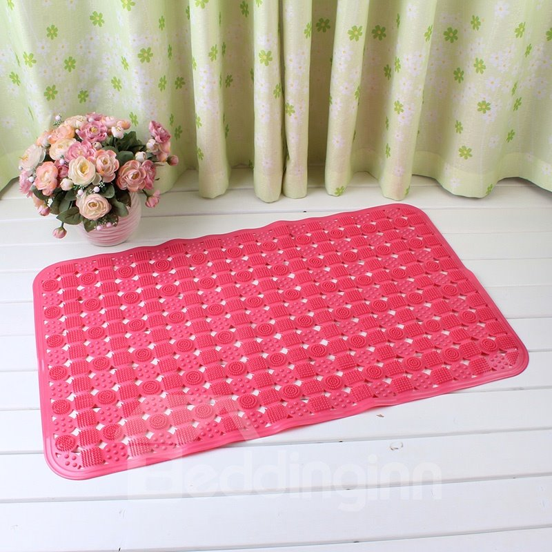 Red Non-Slip Anti-Bacterial Translucent Massage PVC Bath and Shower Mat