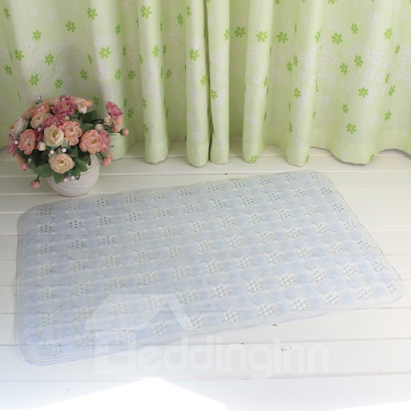 White Non-Slip Anti-Bacterial Massage PVC Bath and Shower Mat