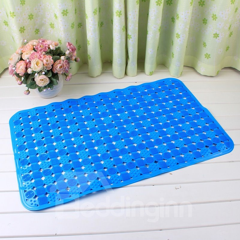 Blue Non-Slip Anti-Bacterial Massage PVC Bath and Shower Mat