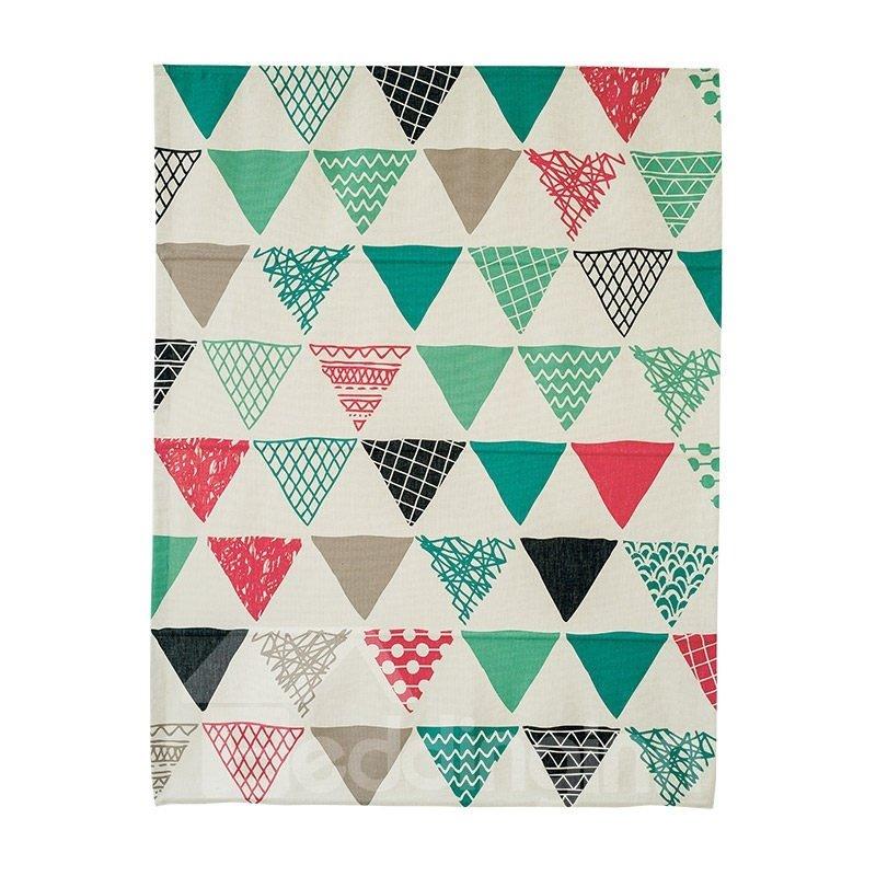 Sweet Colorful Geometric Printing Linen Roman Shades