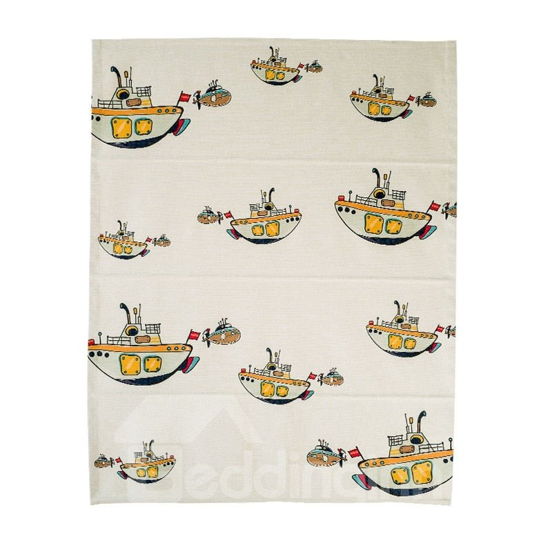 Super Cute Stick Figures Boat Printing Linen Roman Shades