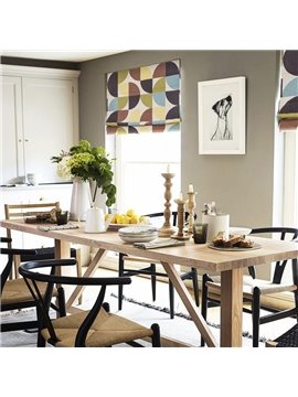 Concise Color Blocks Printing Linen Roman Shades