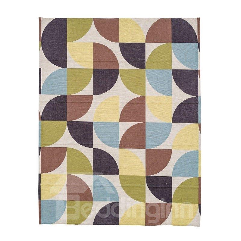 Concise Color Blocks Printing Linen Roman Shades