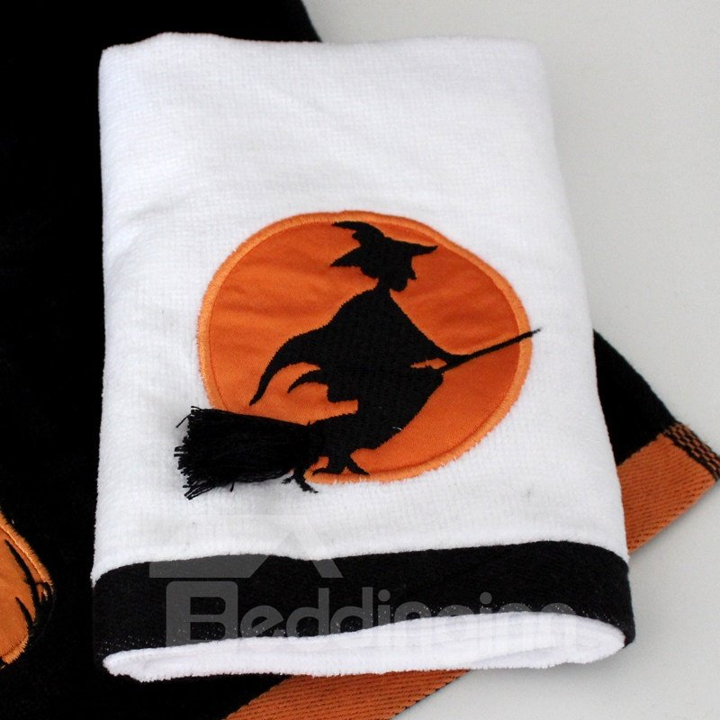 Evil Witch Riding Besom Embroidery Soft Cotton Halloween Theme Face & Hand Towel