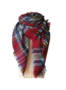 Fashional Popular Contrast Color Charming Red Style Warm Cashmere Square Scarves