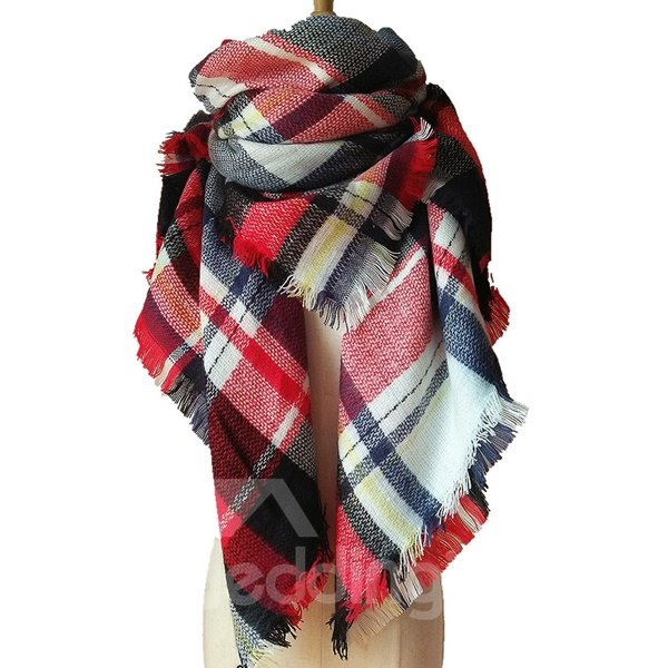 Buttons and Pleats Womens Plaid Blanket Scarf Cozy Shawl Winter Square Scarfs