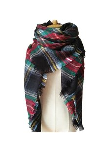 Flat Checkered Feathers Super Soft Luxurious Cashmere Winter Square Scarf