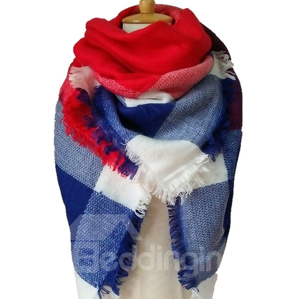 Fashion Scarf For Women Winter Autumn Warm Soft Lattice Square Scarves