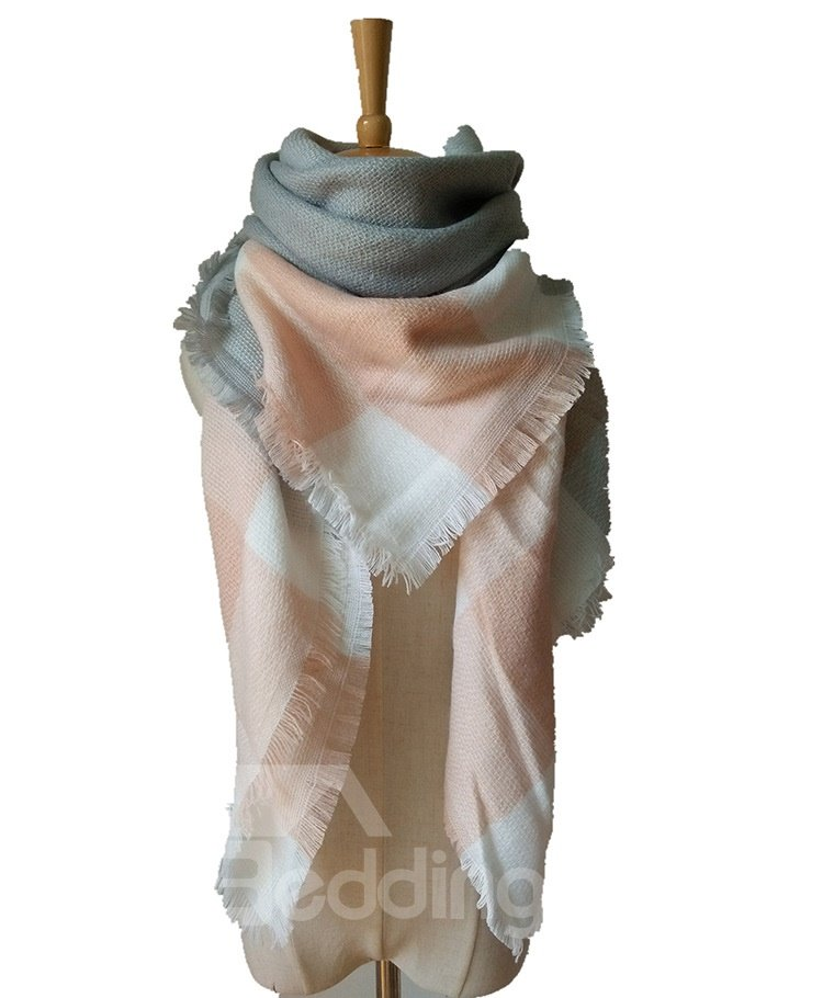 Autumn Winter Women Lady Fashion Plain Contrast Color Square Scarves