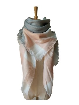 Autumn Winter Women Lady Fashion Plain Contrast Color Square Scarves