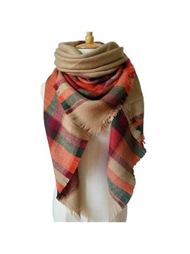 Classic Khaki Color Popular Warm Cashmere Square Scarves