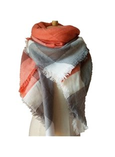 Fresh Contrast Color Style Design Cashmere Square Scarves