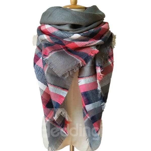 Fashion Light Grey And Pink Mixed Popular Long Scarves