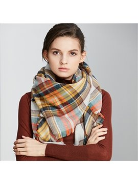 Cool Checkered Stripes Design Cashmere Long Scarves