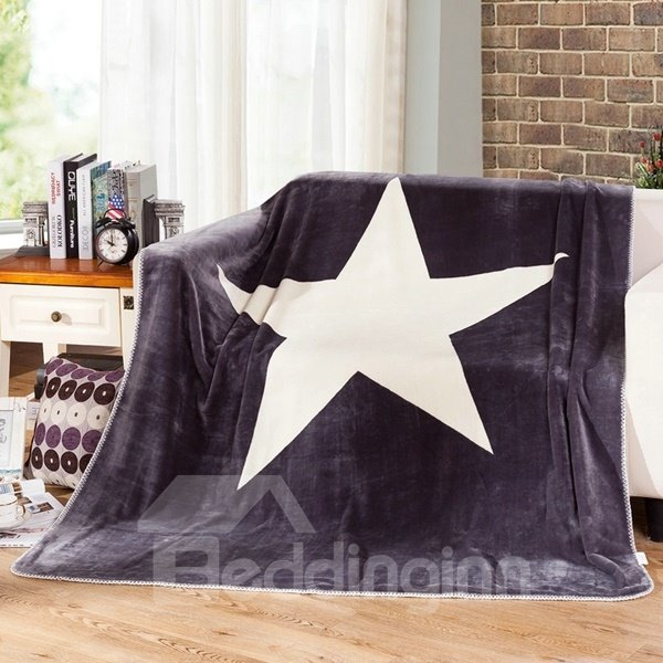 Concise Lucky Star Print Soft Flannel Blanket