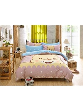 Lucky Bear Pattern Kids Cotton 4-Piece Duvet Cover Sets