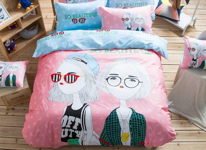 Cool Girls Pattern Kids Cotton 4-Piece Duvet Cover Sets