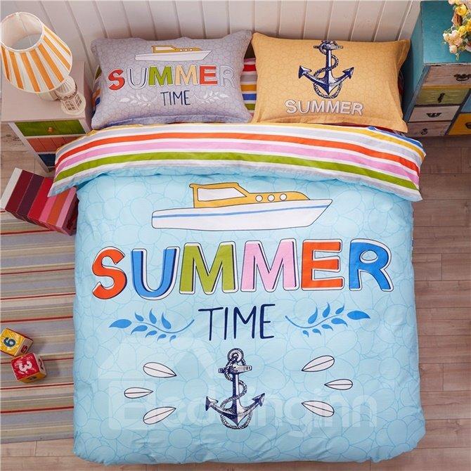 Sailing Pattern Kids Cotton 4-Piece Duvet Cover Sets