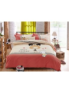 Rabbit Lady Pattern Kids Cotton 4-Piece Duvet Cover Sets