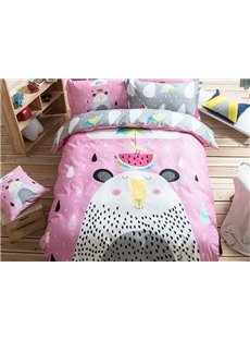 Summer Day Pattern Kids Cotton 4-Piece Duvet Cover Sets