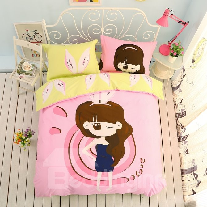 Fashion Girl Pattern Kids Cotton 4-Piece Duvet Cover Sets