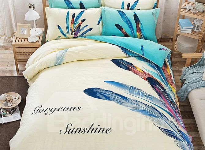 Feather Pattern Kids Cotton 4-Piece Duvet Cover Sets